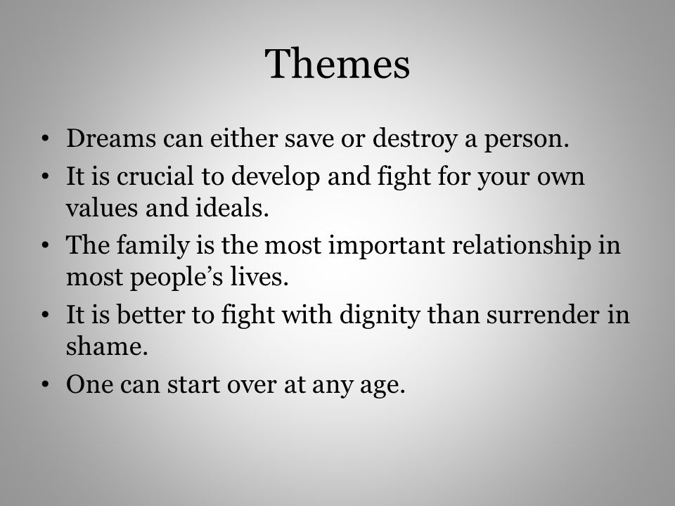 Themes Dreams Can Either Save Or Destroy A Person on sun worksheet
