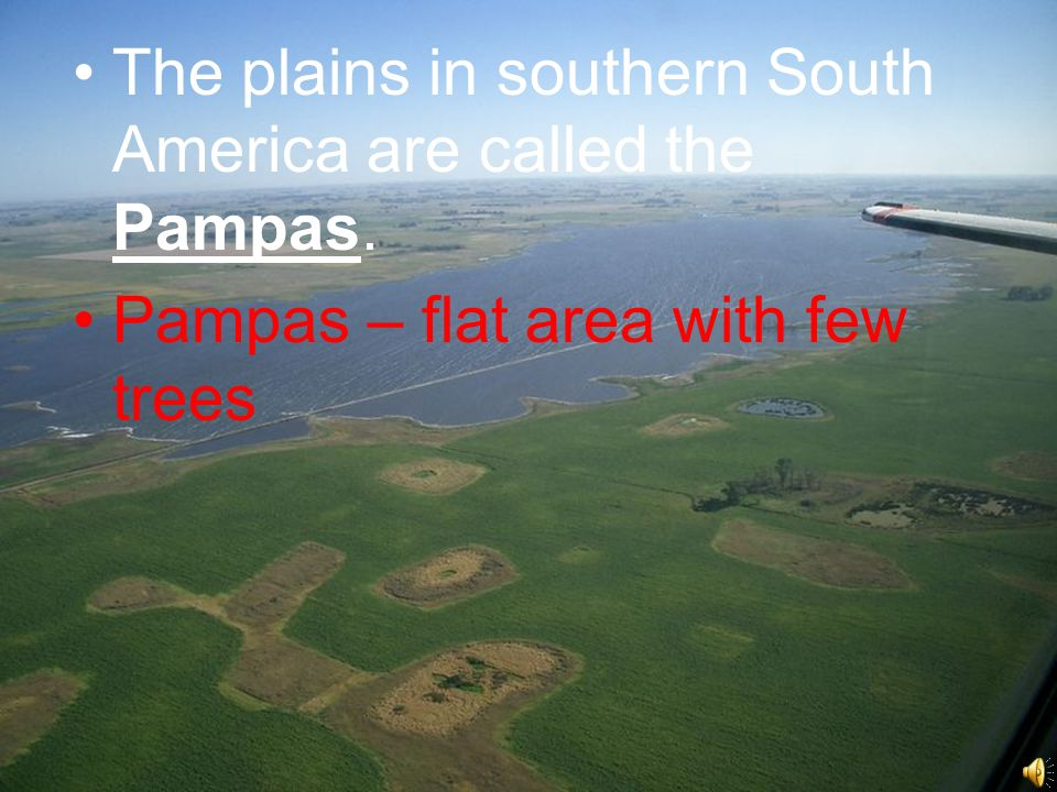 Beyond the Andes The plains in southern South America are called the Pampas.