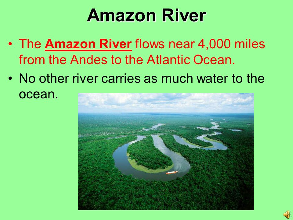 Amazon River The Amazon River flows near 4,000 miles from the Andes to the Atlantic Ocean.