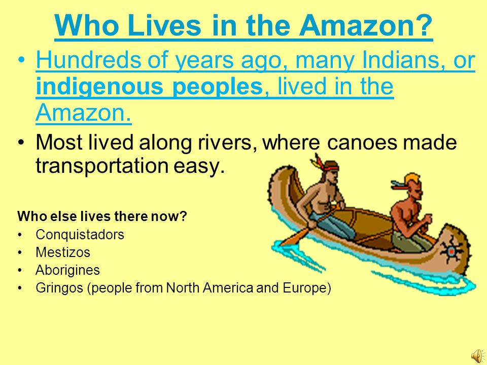 Who Lives in the Amazon Hundreds of years ago, many Indians, or indigenous peoples, lived in the Amazon.