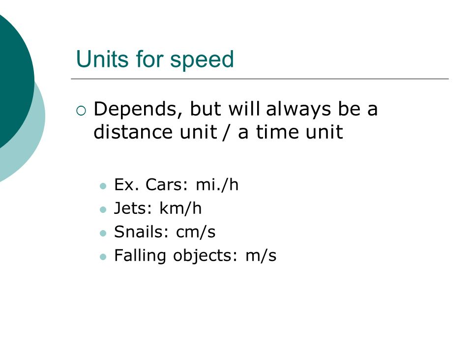 Units for speed Depends, but will always be a distance unit / a time unit. Ex. Cars: mi./h. Jets: km/h.