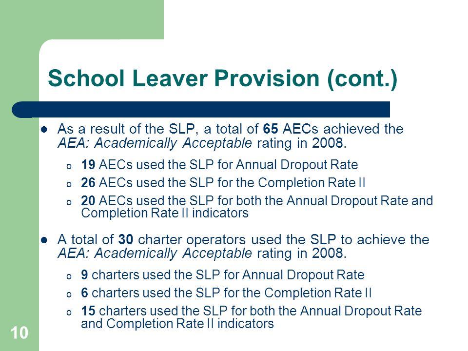 School Leaver Provision (cont.)