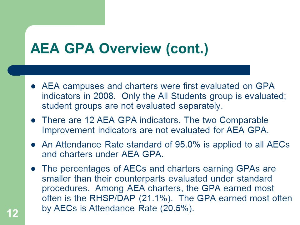 AEA GPA Overview (cont.)