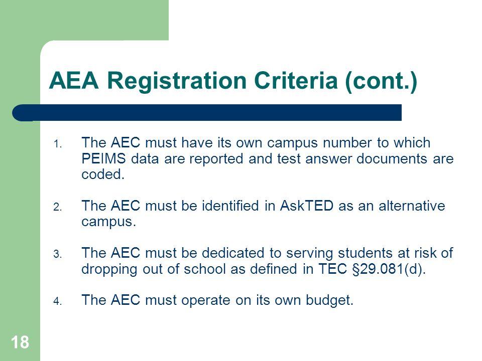 AEA Registration Criteria (cont.)