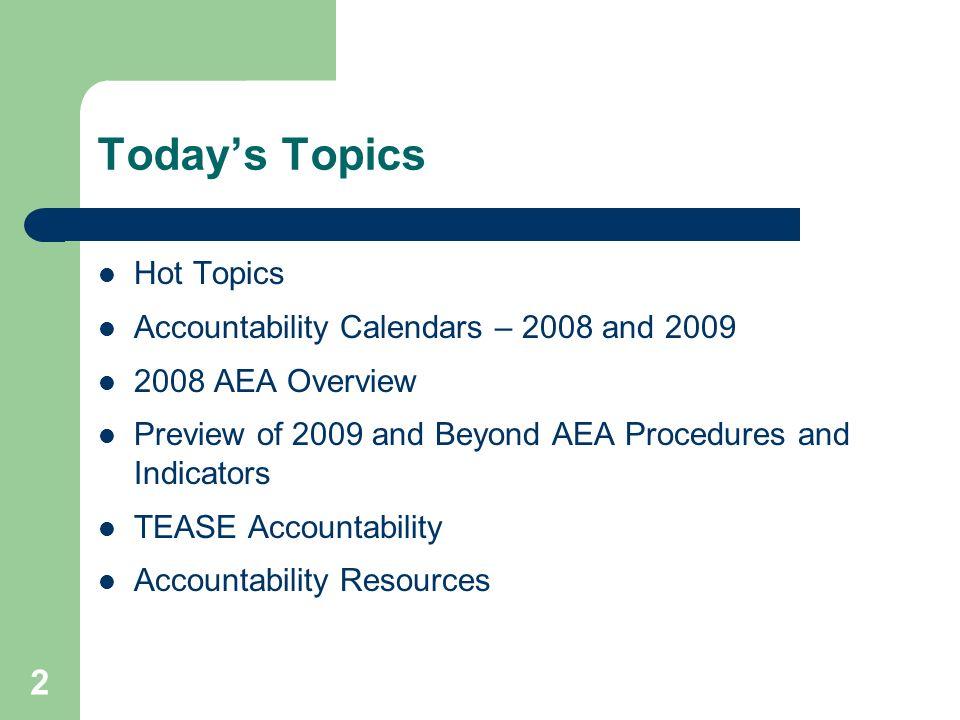Today's Topics Hot Topics Accountability Calendars – 2008 and 2009