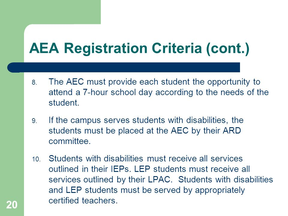 AEA Registration Criteria (cont.)
