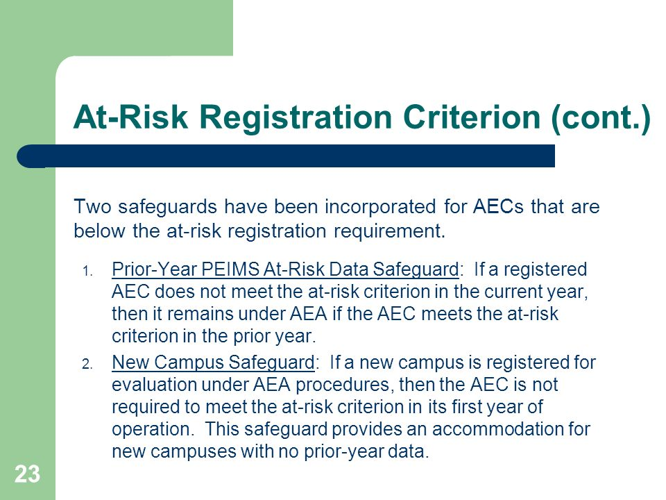 At-Risk Registration Criterion (cont.)