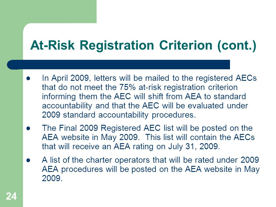At-Risk Registration Criterion (cont.)