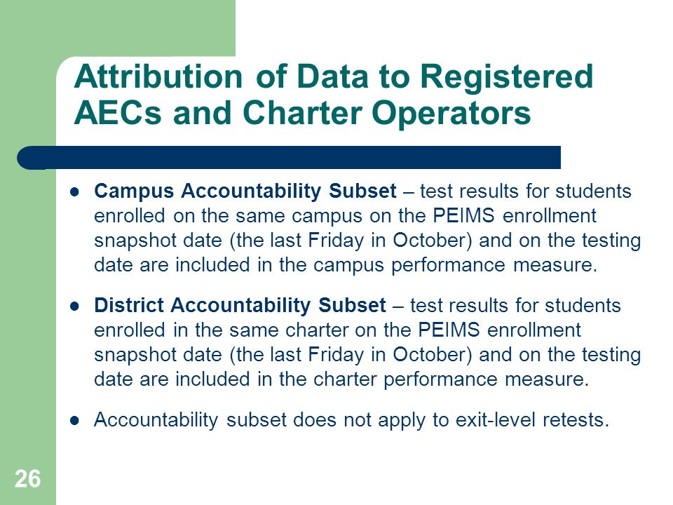 Attribution of Data to Registered AECs and Charter Operators