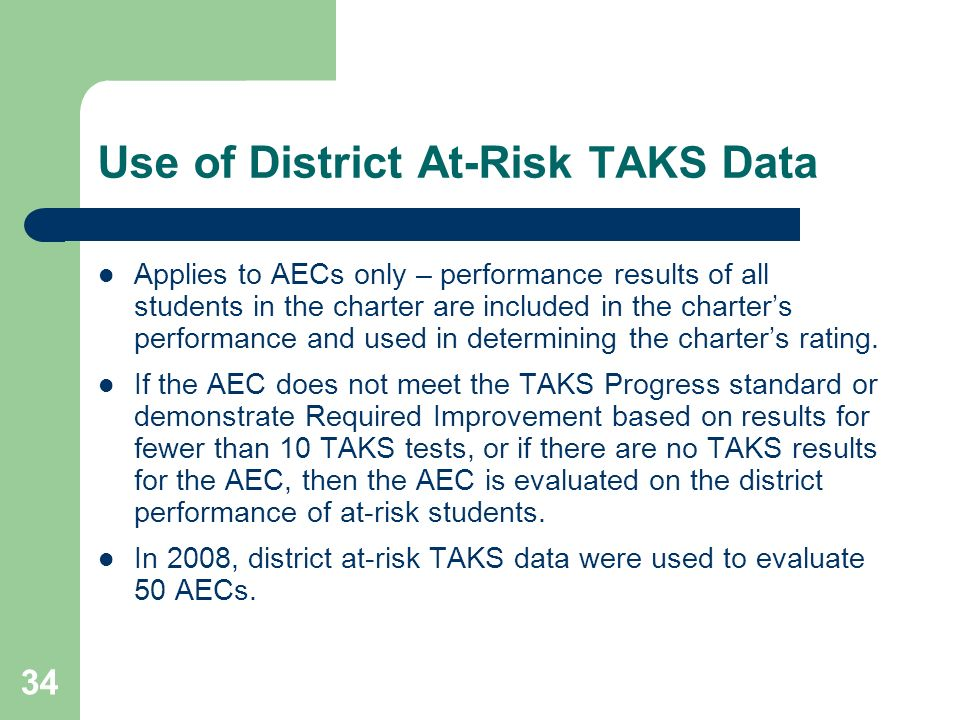 Use of District At-Risk TAKS Data