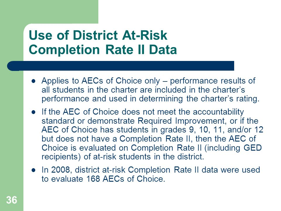 Use of District At-Risk Completion Rate II Data