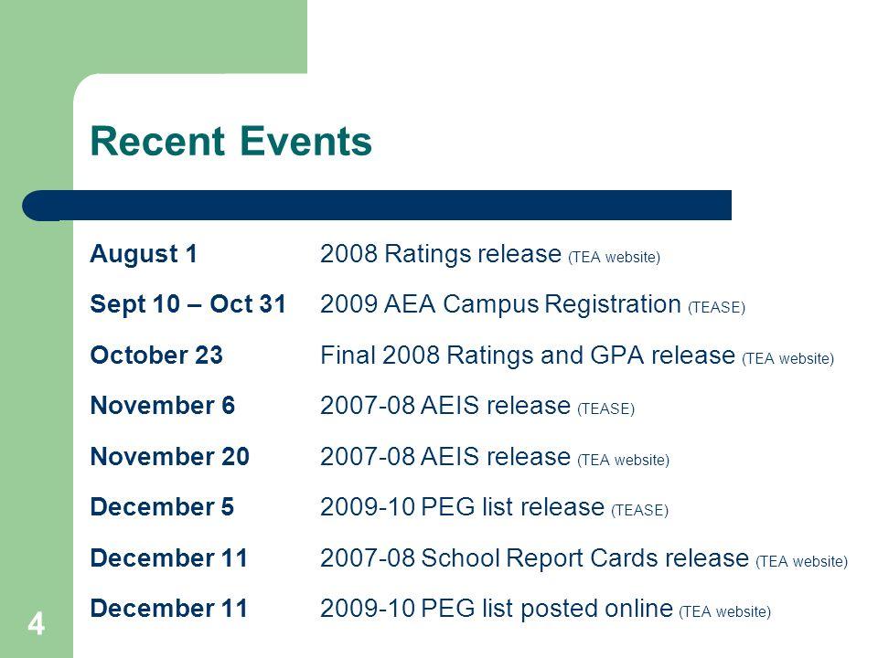 Recent Events August 1 2008 Ratings release (TEA website)