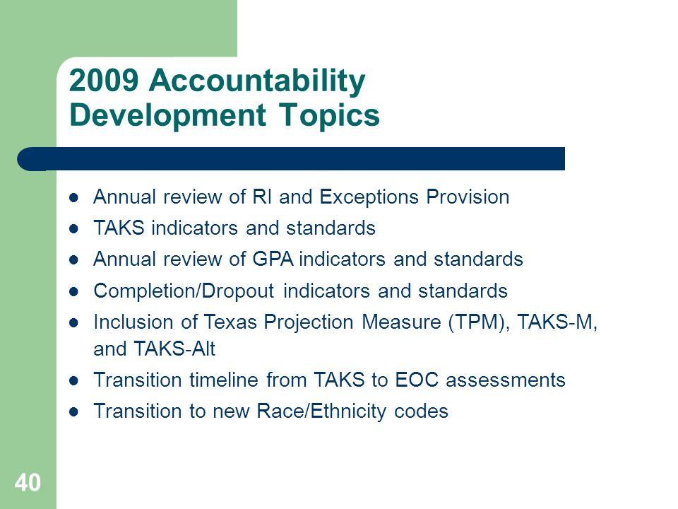 2009 Accountability Development Topics
