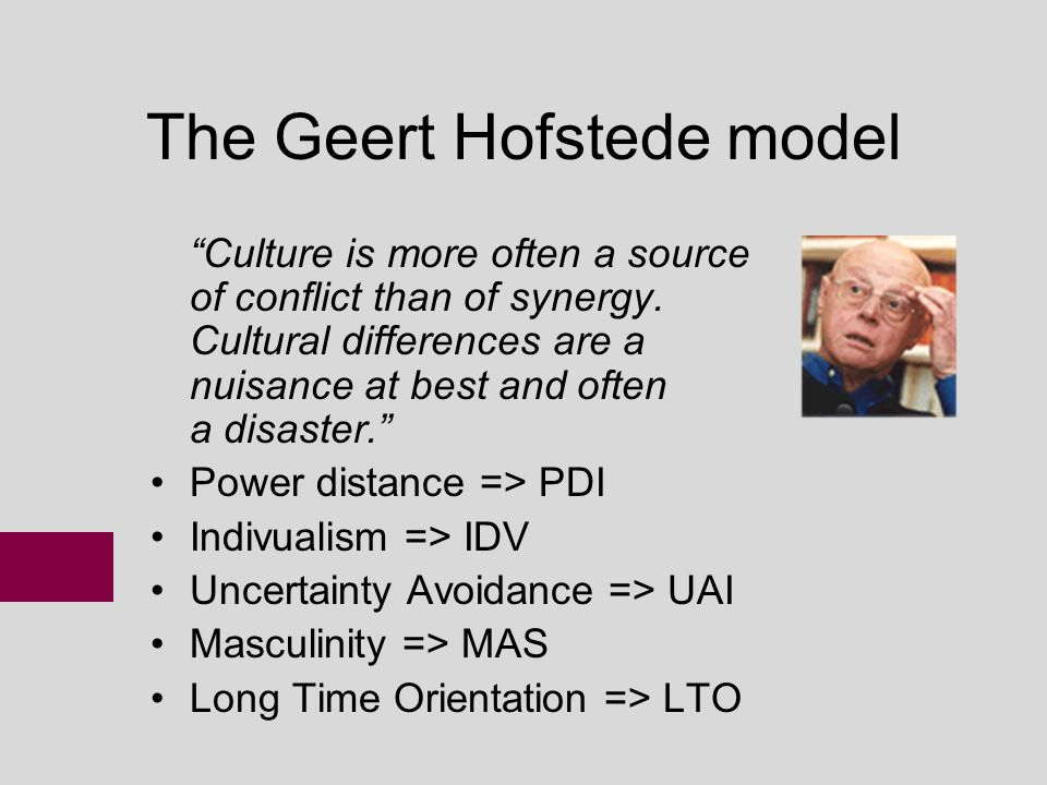 a study on the hofstede model Geert hofstede, in his pioneer study looking at differences in culture across modern nations, identified four dimensions of cultural values:.
