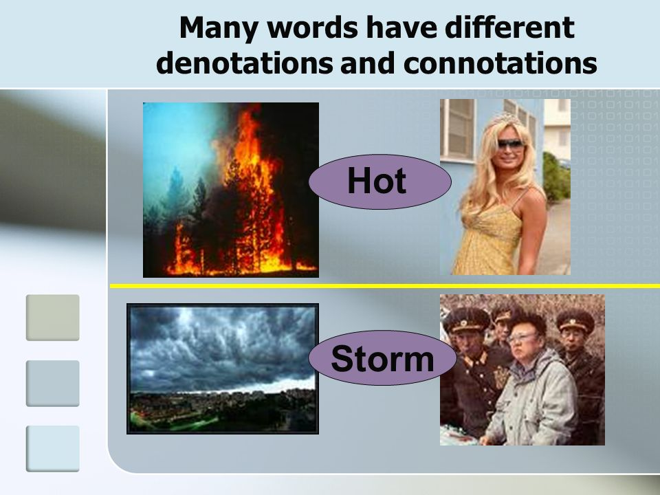 Many words have different denotations and connotations