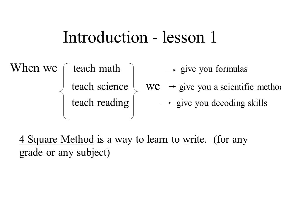 Introduction - lesson 1 When we teach math give you formulas