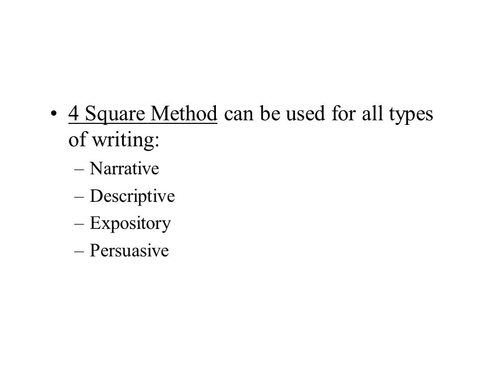 4 Square Method can be used for all types of writing: