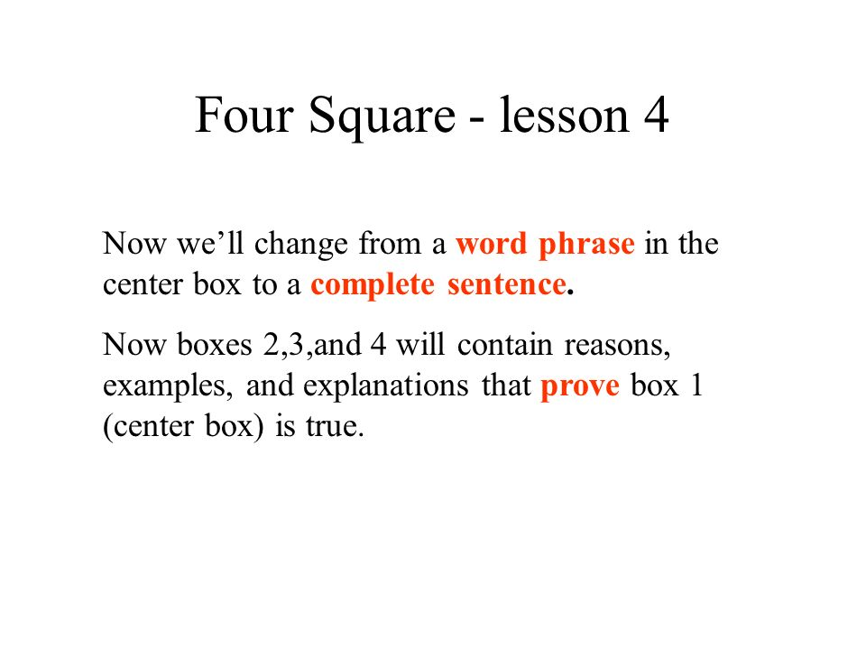 Four Square - lesson 4 Now we'll change from a word phrase in the center box to a complete sentence.