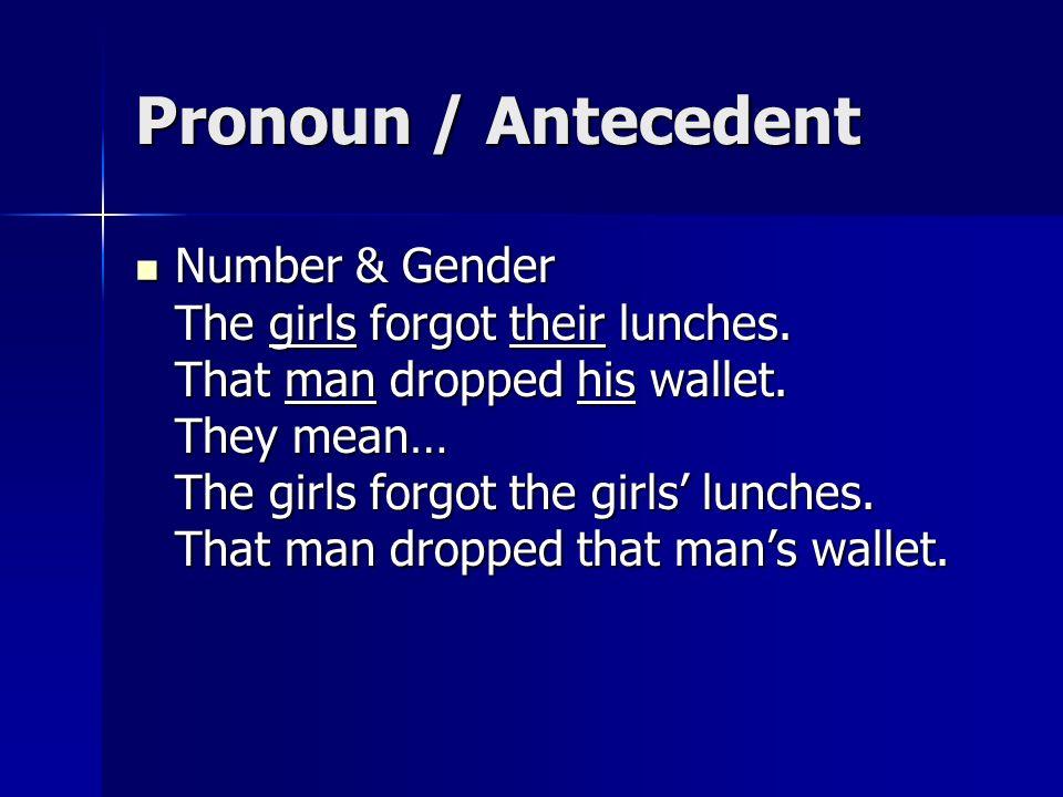 Pronoun / Antecedent