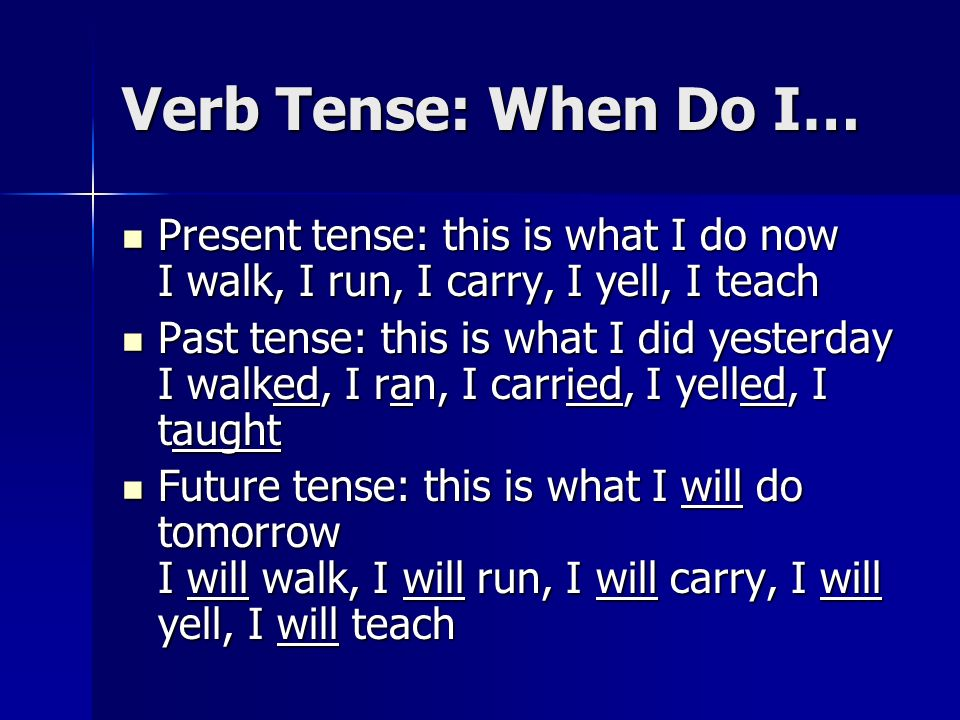 Verb Tense: When Do I…Present tense: this is what I do now I walk, I run, I carry, I yell, I teach.