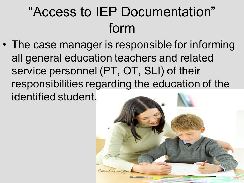 Access to IEP Documentation form