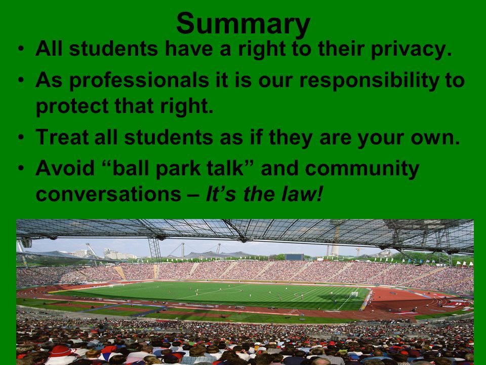 Summary All students have a right to their privacy.