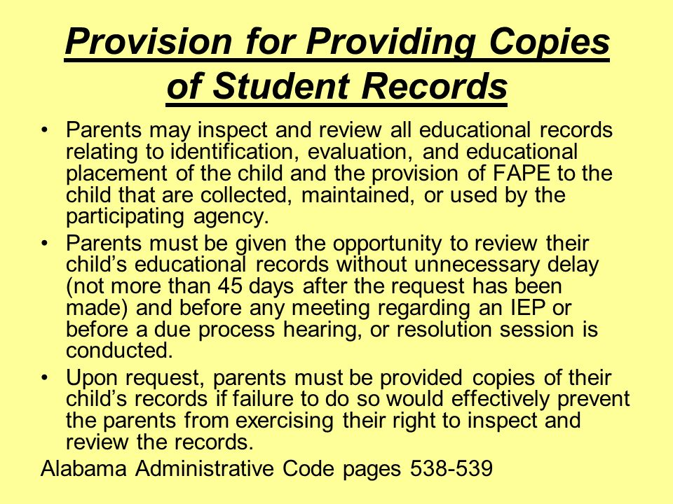 Provision for Providing Copies of Student Records