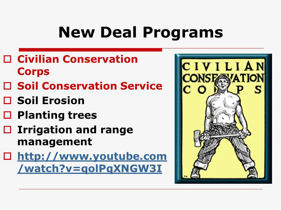 New Deal Programs Civilian Conservation Corps