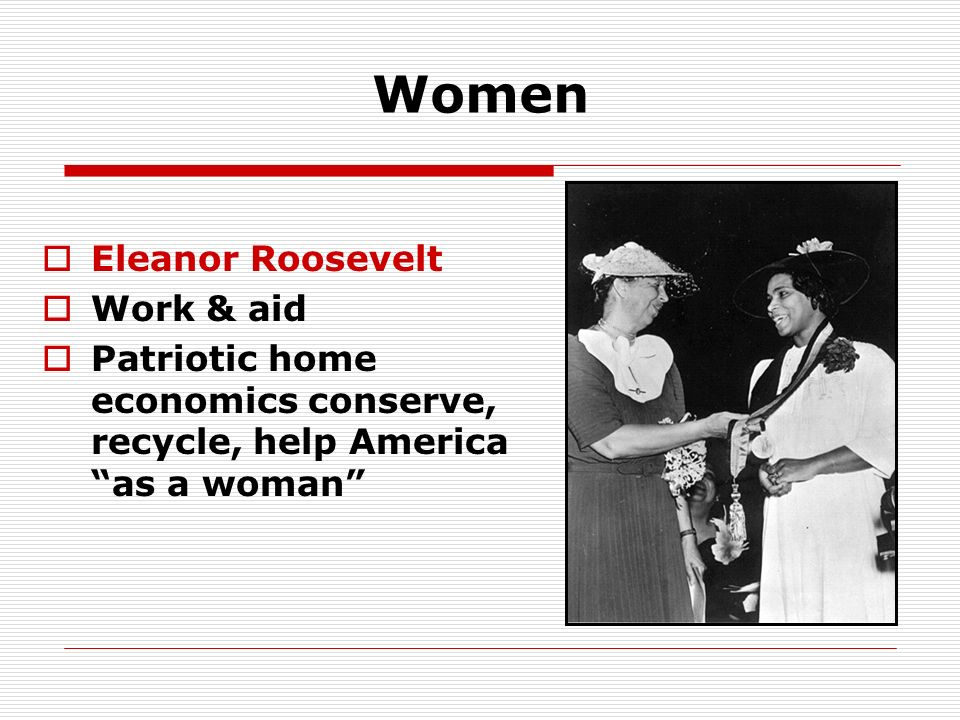 Women Eleanor Roosevelt Work & aid