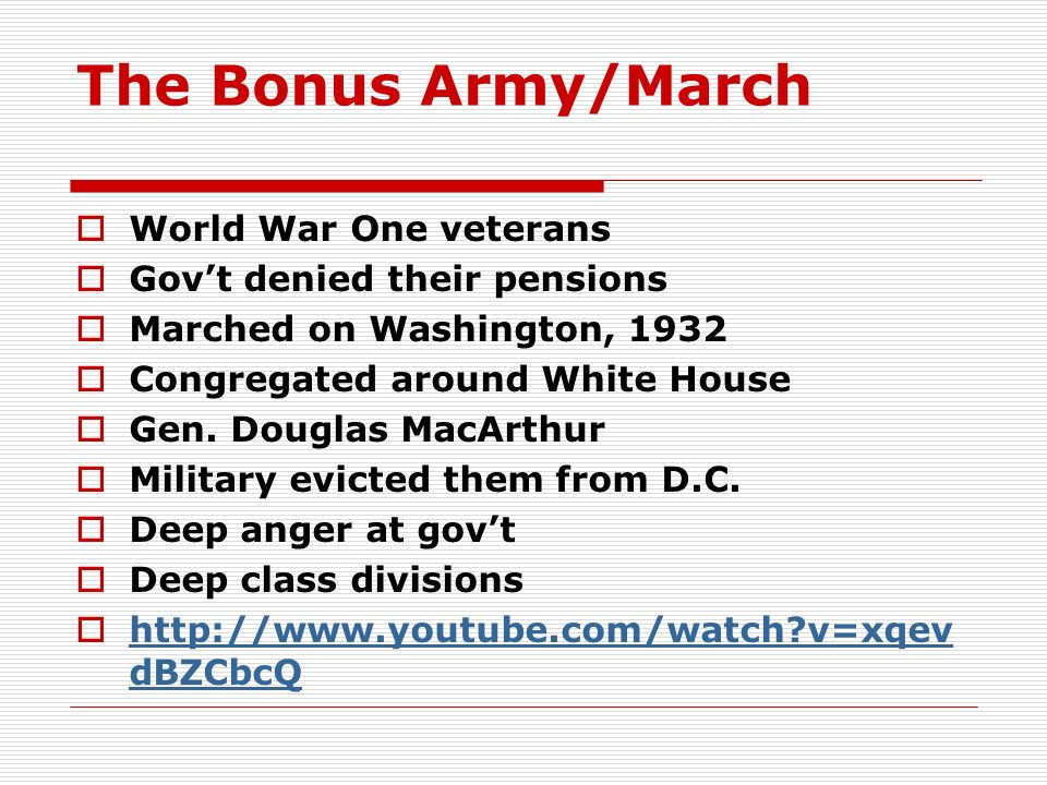 The Bonus Army/March World War One veterans
