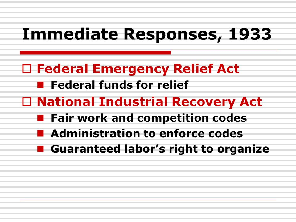 Immediate Responses, 1933 Federal Emergency Relief Act