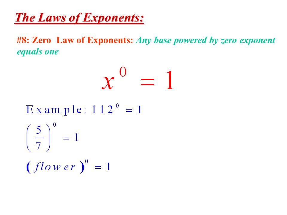 The Laws of Exponents: #8: Zero Law of Exponents: Any base powered by zero exponent equals one