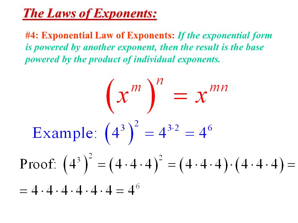 The Laws of Exponents: #4: Exponential Law of Exponents: If the exponential form. is powered by another exponent, then the result is the base.