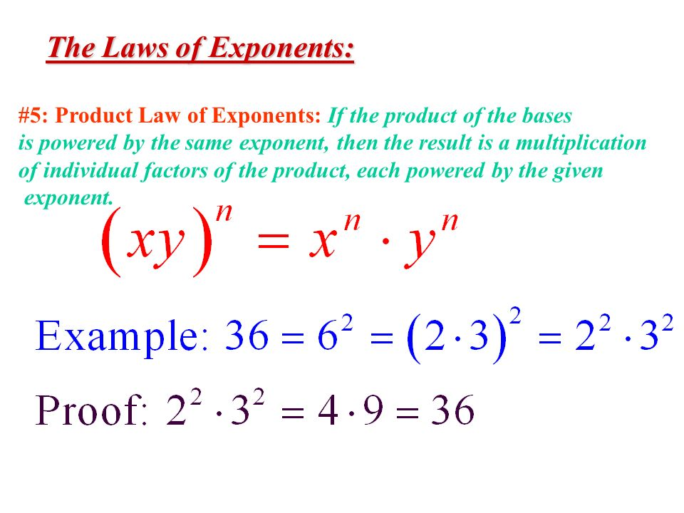 The Laws of Exponents: #5: Product Law of Exponents: If the product of the bases.
