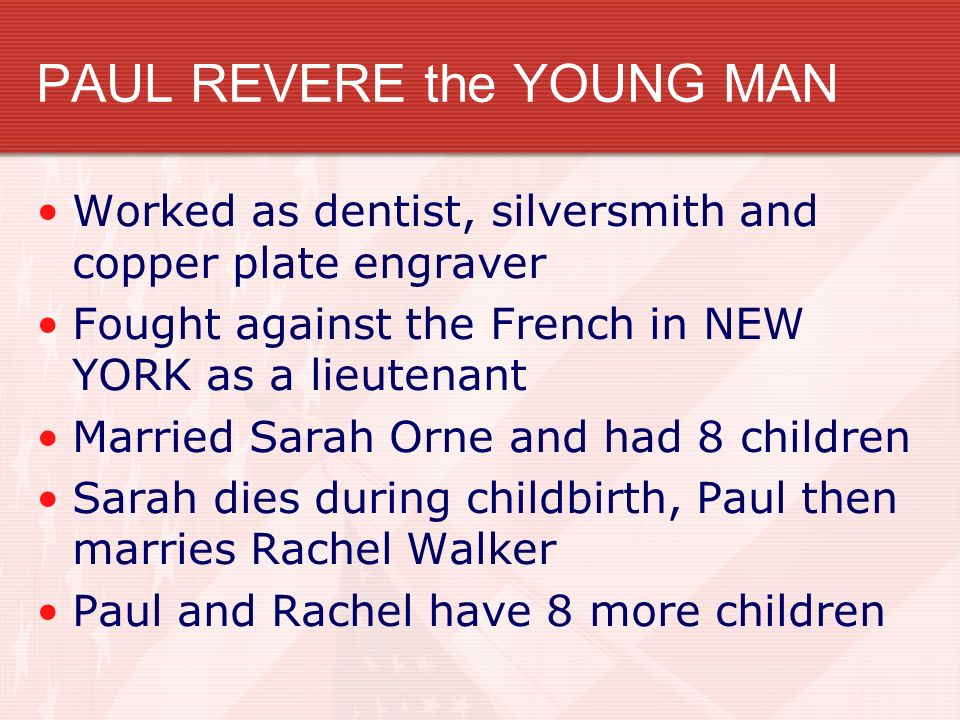 PAUL REVERE the YOUNG MAN