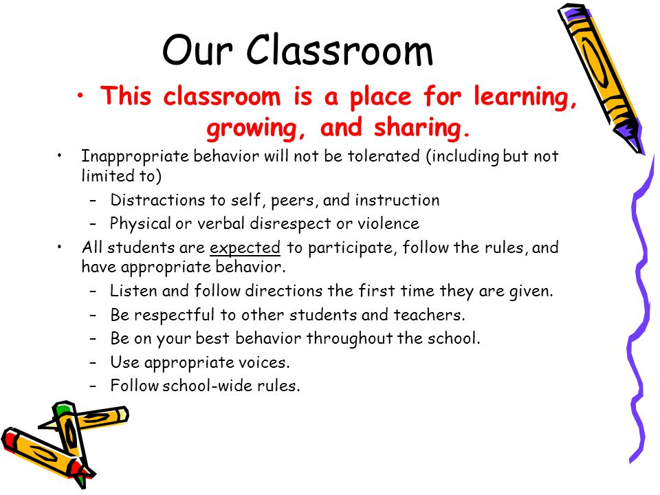 This classroom is a place for learning, growing, and sharing.