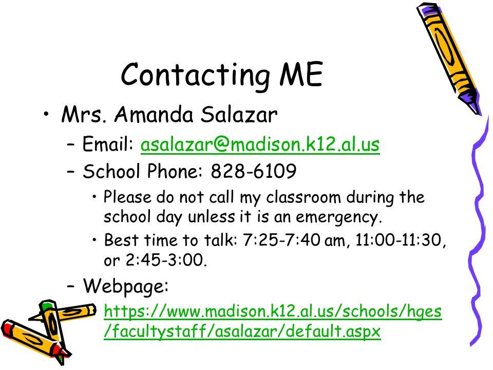 Contacting ME Mrs. Amanda Salazar
