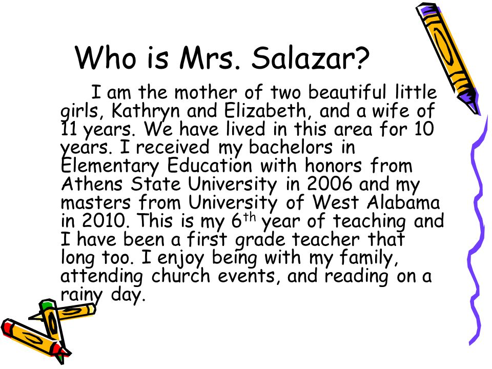 Who is Mrs. Salazar