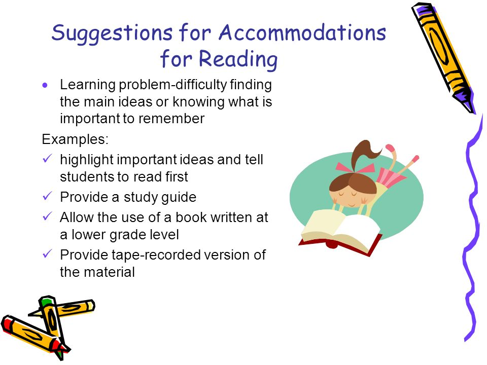 Suggestions for Accommodations for Reading