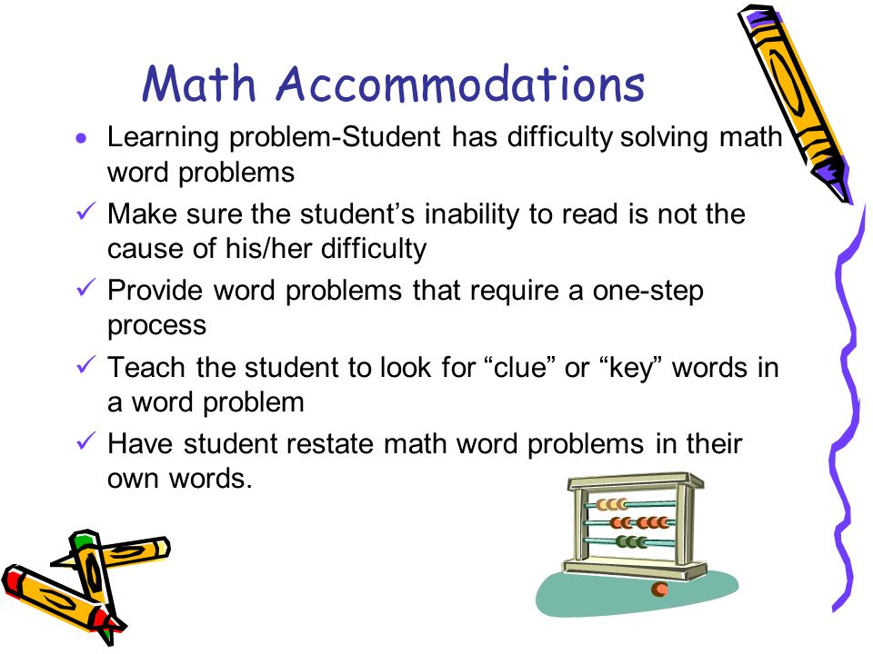 Math Accommodations Learning problem-Student has difficulty solving math word problems.