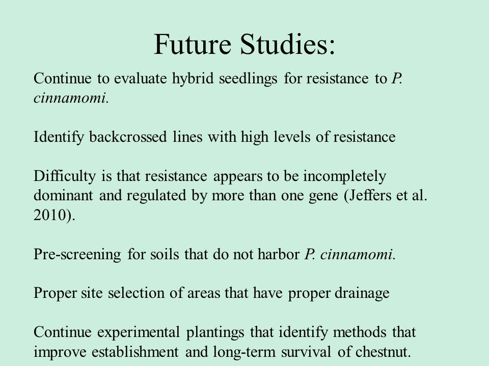 Future Studies: Continue to evaluate hybrid seedlings for resistance to P. cinnamomi. Identify backcrossed lines with high levels of resistance.