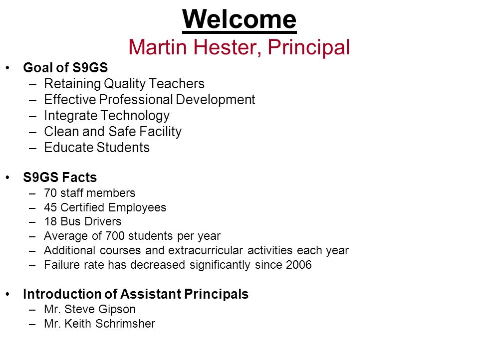 Welcome Martin Hester, Principal