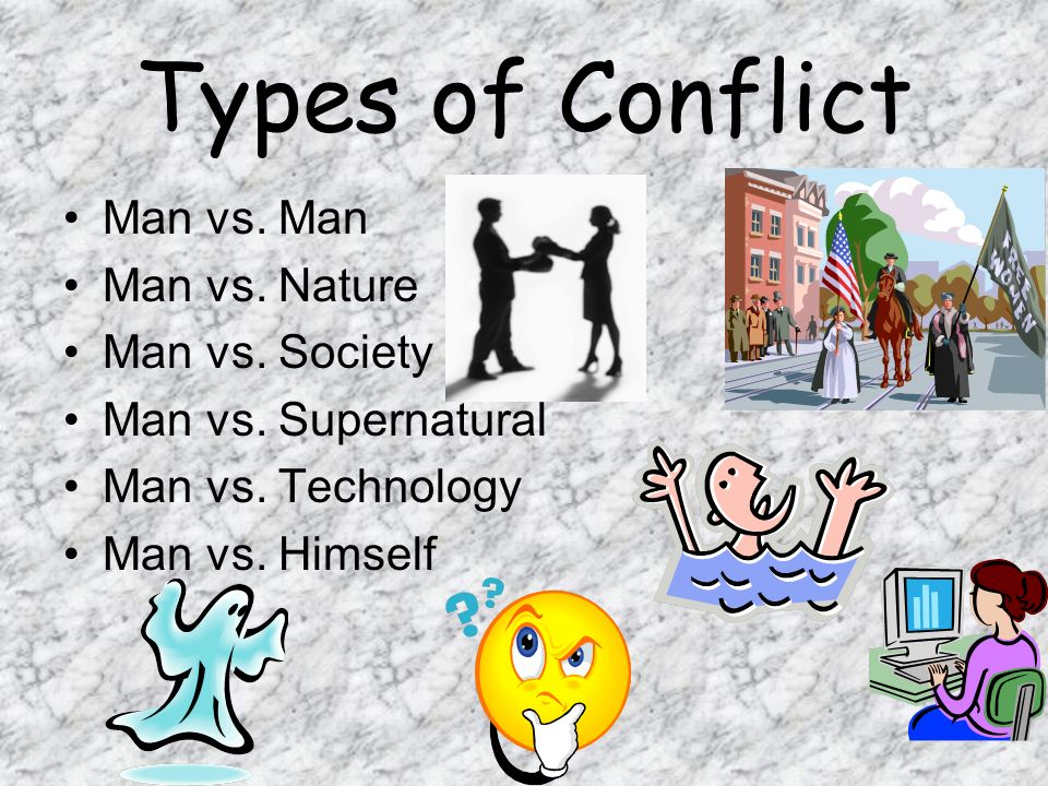 Types of Conflict Man vs. Man Man vs. Nature Man vs. Society