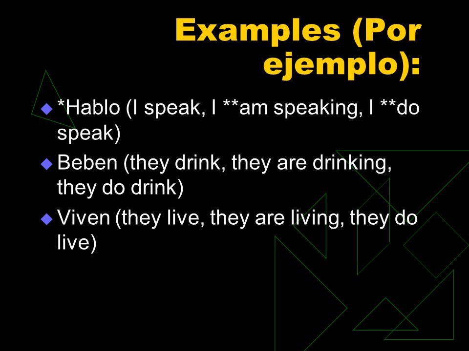 Examples (Por ejemplo):