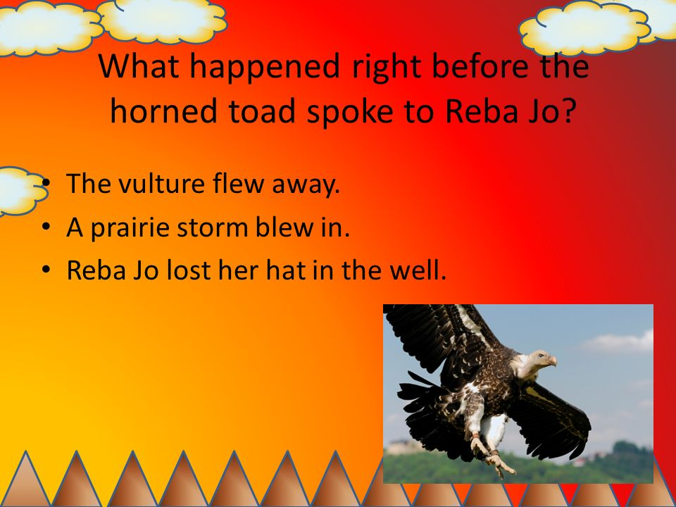 What happened right before the horned toad spoke to Reba Jo