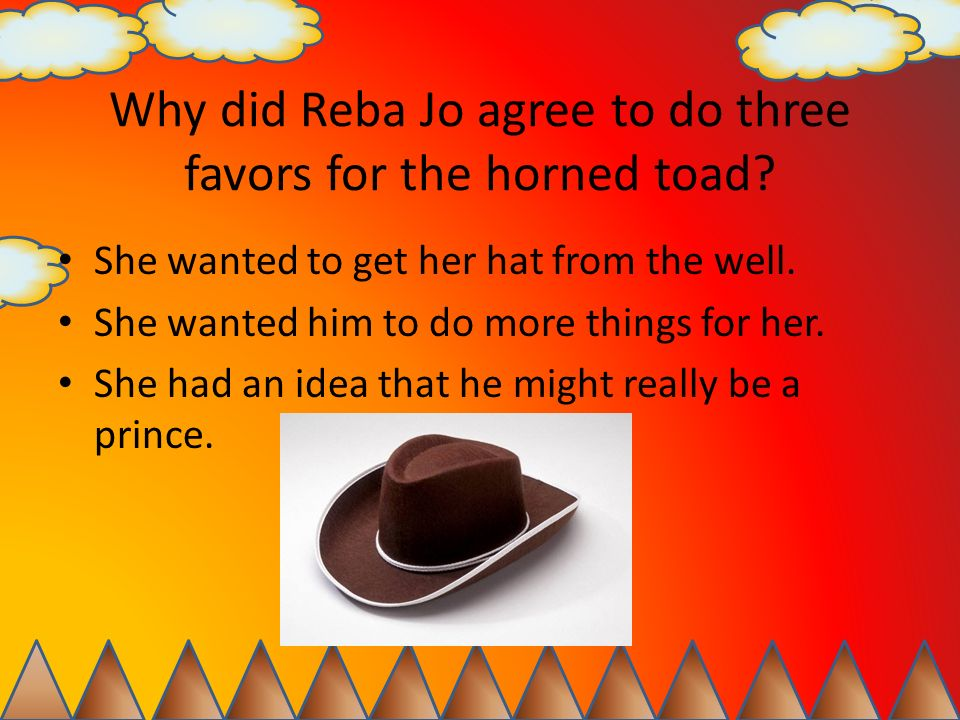 Why did Reba Jo agree to do three favors for the horned toad