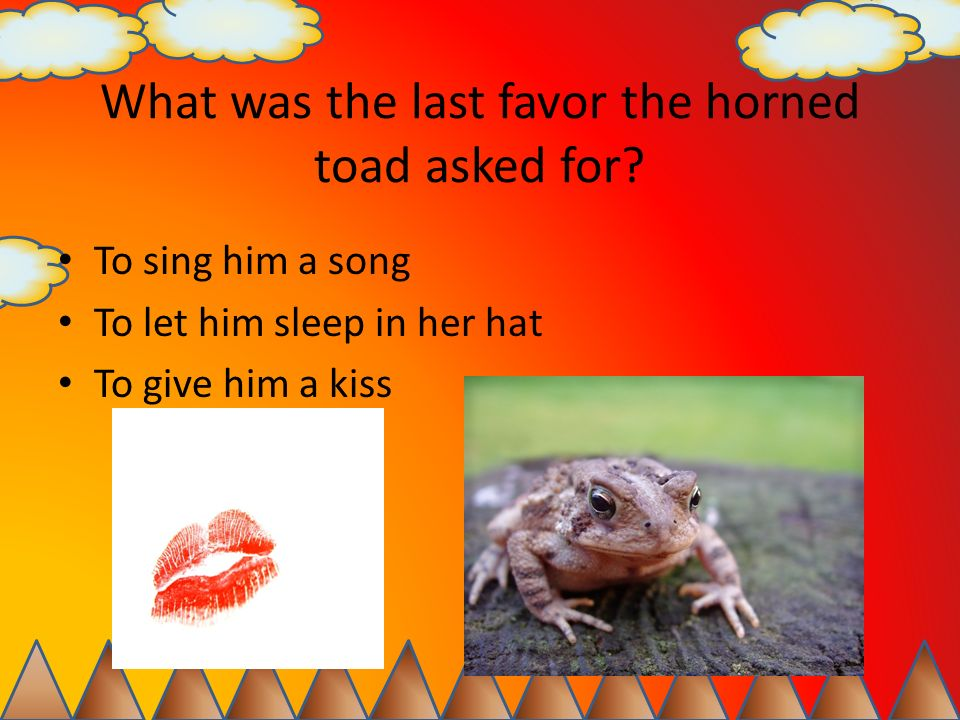 What was the last favor the horned toad asked for