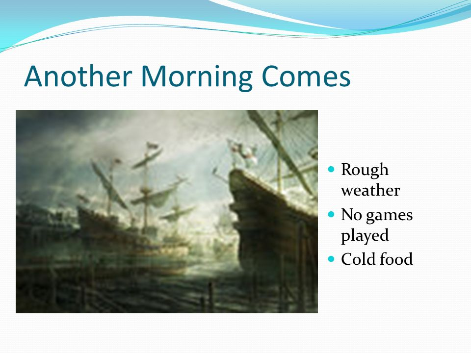 Another Morning Comes Rough weather No games played Cold food