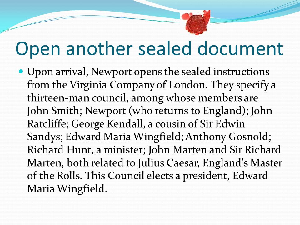 Open another sealed document