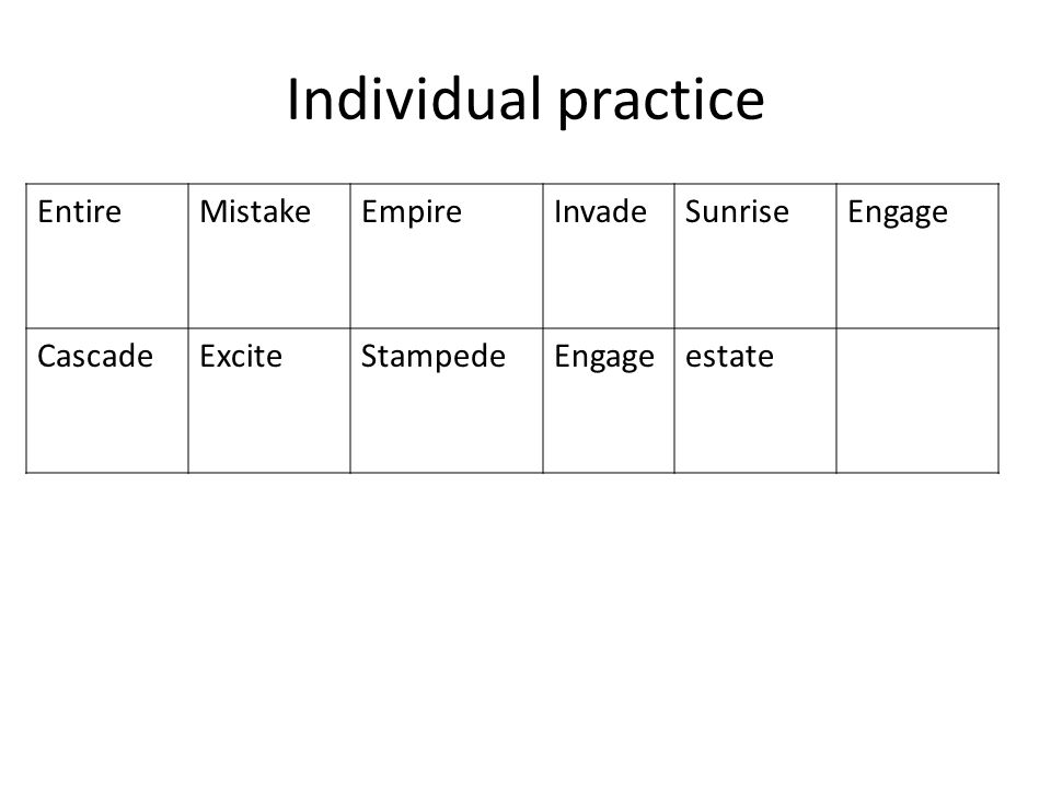 Individual practice Entire Mistake Empire Invade Sunrise Engage